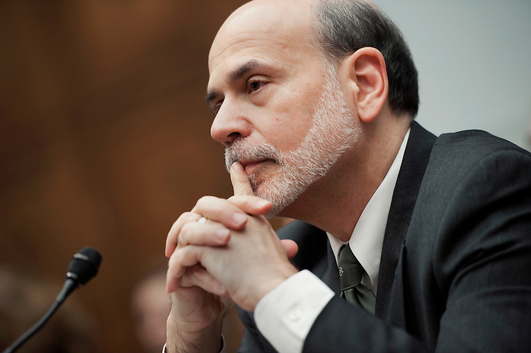 """UNITED STATES - FEBRUARY 29:  Federal Reserve Board Chairman Ben Bernanke testifies before a House Financial Services Committee committee hearing on """"Monetary Policy and the State of the Economy."""" (Photo By Chris Maddaloni/CQ Roll Call)"""