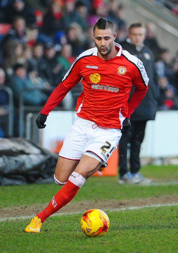 Crewe Alexandra's Marcus Haber in action during todays match  <br /> <br /> Photographer Craig Thomas/CameraSport<br /> <br /> Football - The Football League Sky Bet League One - Crewe Alexandra v Preston North End - Sunday 28th December 2014 - Alexandra Stadium - Crewe<br /> <br /> &copy; CameraSport - 43 Linden Ave. Countesthorpe. Leicester. England. LE8 5PG - Tel: +44 (0) 116 277 4147 - admin@camerasport.com - www.camerasport.com