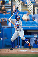 St. Lucie Mets designated hitter Wuilmer Becerra (28) at bat during a game against the Dunedin Blue Jays on April 20, 2017 at Florida Auto Exchange Stadium in Dunedin, Florida.  Dunedin defeated St. Lucie 6-4.  (Mike Janes/Four Seam Images)
