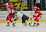 9 February 2008: University of Vermont Catamounts' forward Sarah Ellins, a Freshman from Greeley, CO, is tripped up by Boston University Terriers' forward Caroline Bourdeau, a Junior from West Hartford, CT, at Gutterson Fieldhouse in Burlington, Vermont. The Terriers shut out the Catamounts 2-0 in the Hockey East matchup...Mandatory Photo Credit: Ed Wolfstein Photo