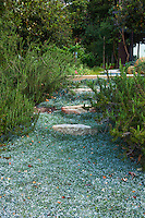 Dymondia margaretae (Silver Carpet) groundcover for path, Coyote House, SITES® residential home with sustainable garden Santa Barbara California, Susan Van Atta design