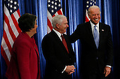 Chicago, IL - December 1, 2008 -- United States Vice President-Elect Joe Biden, right, jokes with defense secretary Robert Gates, middle, and Arizona Governor Janet Napolitano, picked for homeland security secretary, at a press conference on Monday, December 1, 2008 by United States President-elect Barack Obama at the Chicago Hilton & Towers in Chicago, Illinois.  .Credit: Anne Ryan - Pool via CNP