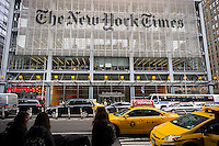 The offices of the the New York Times media empire in Midtown in New York on Wednesday, October 1, 2014. Publisher Arthur Sulzberger Jr. announced that the media giant would cut 100 newsroom jobs via buyouts or if necessary layoffs.  (© Richard B. Levine)