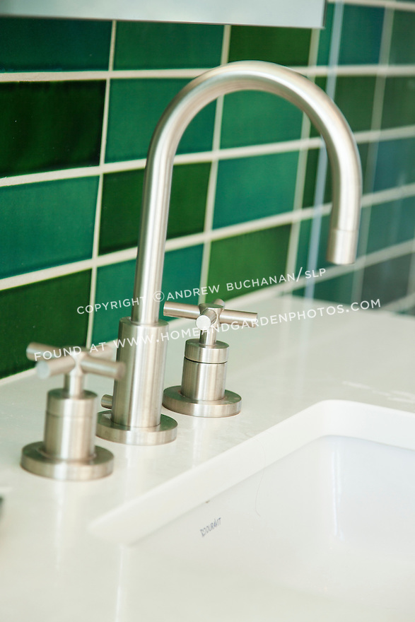 Bright green subway tile provides a bright pop of color. This image is available through an alternate architectural stock image agency, Collinstock located here: http://www.collinstock.com