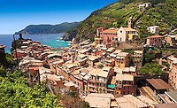 Photo of colorful fishing housesthe fishing port of Vernazza at sunrise, Cinque Terre National Park, Ligurian Riviera, Italy. A UNESCO World Heritage Site.