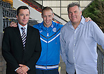 St Johnstone v Hearts...03.08.14  Steven Anderson Testimonial<br /> Steven Anderson pictured with testimonial sponsors, Nick Price (left) from Northrdige Finance and Alan Storrar from Alan Storrar Cars of Perth<br /> Picture by Graeme Hart.<br /> Copyright Perthshire Picture Agency<br /> Tel: 01738 623350  Mobile: 07990 594431