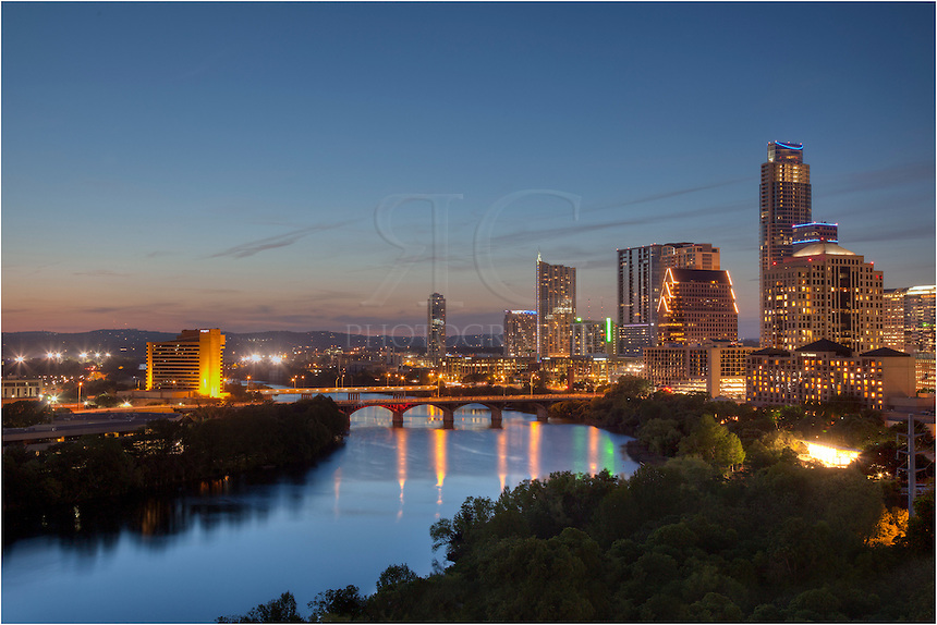 One of my favorite views of the Austin skyline and the downtown area comes from the roof of the Milago. I've shot for them several times and always keep coming back for new images of ever-changing city. In this image you can see Lady Bird Lake (the Texas version of the Colorado River) flowing east while Austin comes to live on a perfect evening.
