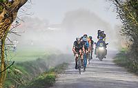 breakaway group led by Jay Robert Thomson (ZAF/Dimension Data) over the gravel of the 'Plugstreets'<br /> <br /> 79th Gent-Wevelgem 2017 (1.UWT)<br /> 1day race: Deinze &rsaquo; Wevelgem - BEL (249km)