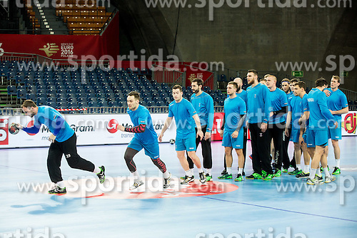 Uros Zorman of Slovenia, Luka Zvizej of Slovenia during practice session of Team Slovenia on Day 1 of Men's EHF EURO 2016, on January 15, 2016 in Centennial Hall, Wroclaw, Poland. Photo by Vid Ponikvar / Sportida