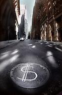 Dollar sign on manholes symbolizing the economic status after Black Monday, when stock markets around the world crashed.