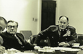 Vice President Nelson A. Rockefeller and Gen. George S. Brown, chairman of the Joint Chiefs of Staff, attend an evening meeting on April 28, 1975, with the National Security Council to discuss the evacuation of Saigon.  .