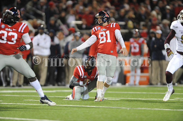 Ole Miss kicker Bryson Rose (81) makes a field goal vs. Mississippi State at Vaught Hemingway Stadium in Oxford, Miss. on Saturday, November 24, 2012. Ole Miss won 41-24.