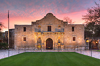 The Alamo stands as a reminder to the battle that took place there on March 6, 1836. Nearly all Texans involved in the battle died, but in their death Texas found a rallying cry and several weeks later pushed the Mexican army back south. Soon after, Texas had its independence. <br /> <br /> This photograph was taken in the early morning as first light spread acros the sky.