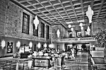 Interior of Liberty Tower bank lobby, deco style architecture in black & white