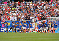 Chicago, IL - Sunday July 28, 2013:   The USMNT celebrates after defeating Panama by the score of 1-0 during the CONCACAF Gold Cup Finals soccer match between the USMNT and Panama, at Soldier Field in Chicago, IL.