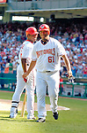 5 September 2005: Livan Hernandez, All-Star pitcher for the Washington Nationals, is greeted by teammate Jose Guillen as Hernandez walks back to the dugout after crossing the plate in a game against the Florida Marlins. The Nationals defeated the Marlins 5-2 at RFK Stadium in Washington, DC, maintaining a close race for the NL Wildcard spot. Mandatory Photo Credit: Ed Wolfstein.