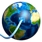 Network cable plugged into the Earth globe. Conceptual 3D illustration.