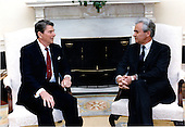United States President Ronald Reagan meets with Ambassador Ambassador Yury Vladimirovich Dubinin of the Union of Soviet Socialist Republics in the Oval Office on Monday, June 23, 1986.  It was the first meeting for the two men.  Dubinin is the new Soviet Ambassador to the United States..Mandatory Credit: Bill Fitz-Patrick - White House via CNP