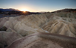 California, Southeast, Death Valley National Park, Furnace Creek. Zabriskie Point at sunrise in autumn.