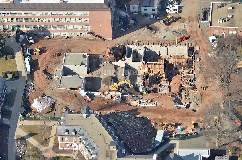 Aerial Photo of Central Connecticut State University New Academic Building under construction. CT Project No: BI-RC-324.<br /> Architect: Burt Hill Kosar Rittelmann Associates. Contractor: Gilbane Building Company, Glastonbury, CT. <br /> James R Anderson Photography, New Haven CT photog.com Date of Photograph: 19 January 2012. View of the Project Construction Site and Surrounding Campus.