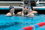 23 MAR 2012: Logan Todhunter (right) of Williams College celebrates after the 200 yard butterfly event with teamamtes Kelsey Roggensack (center) and Bonnie Patchen during the Division III Men's and Women's Swimming and Diving Championship held at the IU Natatorium in Indianapolis, IN.  Todhunter won the event with a new NCAA record time of 1:55:66.  Joe Robbins/NCAA
