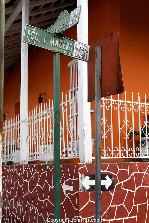Colorful house on a street corner in the town of Catemaco, Veracruz, Mexico