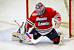 20 February 2009: University of Massachusetts Lowell River Hawks' goaltender Nevin Hamilton, a Junior from Ashland, MA, makes a third period save against the University of Vermont Catamounts at Gutterson Fieldhouse in Burlington, Vermont. The teams battled to a 3-3 tie. Mandatory Photo Credit: Ed Wolfstein Photo