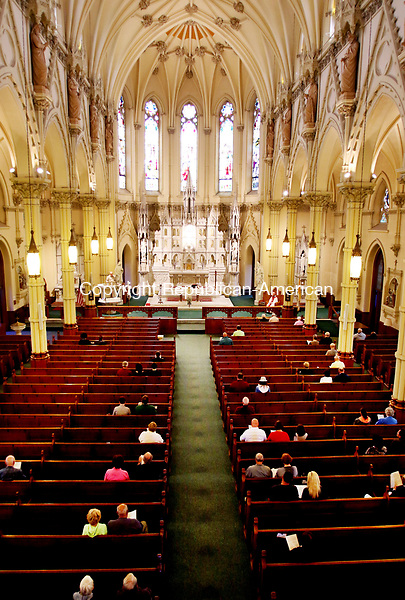 WATERBURY CT. 06 May 2017-050617SV11-Parishioners participate during 4 o&rsquo;clock mass at St Patrick's Church in Waterbury Saturday.<br /> Steven Valenti Republican-American