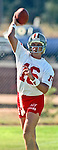San Francisco 49ers training camp July 26, 1990 at Sierra College, Rocklin, California.  San Francisco 49ers quarterback Joe Montana (16).