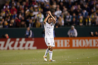 Landon Donovan (10) salutes the fans has he exits the pitch late in the match. The LA Galaxy defeated the Portland Timbers 3-0 at Home Depot Center stadium in Carson, California on  April  23, 2011....