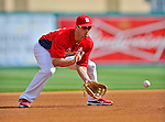 8 March 2012: St. Louis Cardinals' infielder David Freese warms up prior to a Spring Training game against the Boston Red Sox at Roger Dean Stadium in Jupiter, Florida. The Cardinals defeated the Red Sox 9-3 in Grapefruit League action. Mandatory Credit: Ed Wolfstein Photo