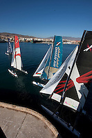 13th October 2011. Extreme Sailing Series 2011 - Act 8. Almeria. Spain.Oman Air skippered by Ben Ainslie (GBR). Tactician: Kinley Fowler (NZL).Trimmer: David Carr (GBR). Bowman: Nasser Al Mashari (OMA).