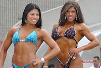 Woman bodybuilders pose-off during last years 2008 Muscle Beach International Classic at Venice's Muscle Beach on Sunday, May 25, 2008.