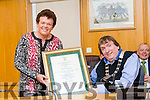 Mary Sheehy from Oakpark  receive an award from Tralee Mayor Cllr Terry O'Brien at the  Tralee Municipal District annual awards ceremony  on Friday,  in the Council chambers