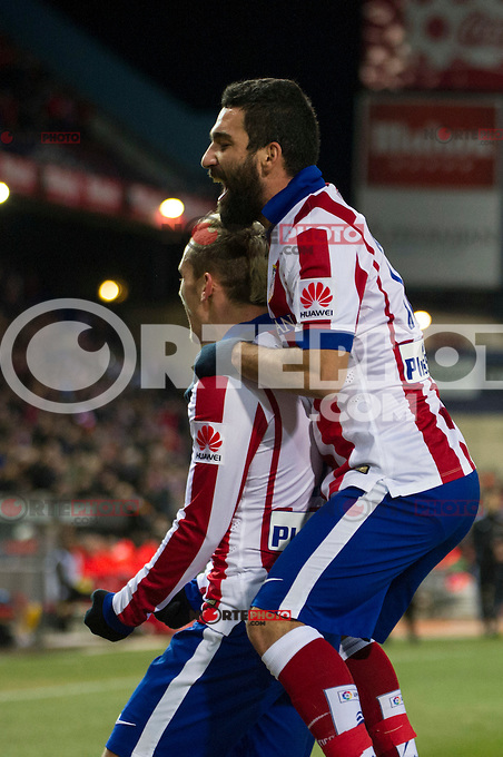 Atletico de Madrid&acute;s Antoine Griezmann and Arda Turan during 2014-15 La Liga match between Atletico de Madrid and Rayo Vallecano at Vicente Calderon stadium in Madrid, Spain. January 24, 2015. (ALTERPHOTOS/Luis Fernandez) /NortePhoto<br />