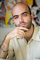 Mantova, Italy, 2006. Roberto Saviano, Italian writer and journalist, author of 'Gomorra'.