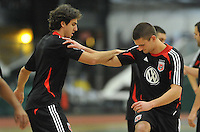 D.C. United defender Perry Kitchen with defender Dejan Jakovic during the pre-season fitness training session at George Manson University before departing for Bradenton Florida to get ready for the 2013 season, Friday January 18, 2013.