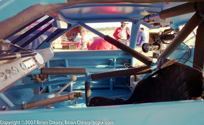 TV camera mounted in Richard Petty's car, Atlanta Journal 500 at Atlanta International Raceway in Hampton, GA on November 6, 1983. (Photo by Brian Cleary/www.bcpix.com)  Atlanta Journal 500, Atlanta Motor Speedway, Hampton, Georgia, November 6, 1983.  (Photo by Brian Cleary/www.bcpix.com)