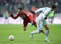 FUSSBALL   1. BUNDESLIGA  SAISON 2012/2013   21. Spieltag  FC Bayern Muenchen - FC Schalke 04                     09.02.2013 Franck Ribery (li, FC Bayern Muenchen) gegen Marco Hoeger (re, FC Schalke 04)