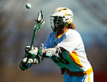 19 March 2011: University of Vermont Catamount Attacker A.J. Masson, a Sophomore from Newmarket, Ontario, in action against the St. John's University Red Storm at Moulton Winder Field in Burlington, Vermont. The Catamounts defeated the visiting Red Storm 14-9. Mandatory Credit: Ed Wolfstein Photo