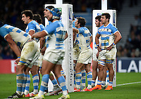 Facundo Isa of Argentina looks dejected after his side concede a try. Rugby World Cup Semi Final between Argentina v Australia on October 25, 2015 at Twickenham Stadium in London, England. Photo by: Patrick Khachfe / Onside Images