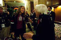 DENVER, CO--Grace Mashore is greeted by Head Coach Tara VanDerveer's mother, Rita, upon arrival at the team hotel in Denver, CO for the 2012 NCAA Women's Final Four.
