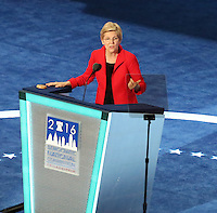 PHILADELPHIA, PA - JULY 25: Elizabeth Warren at The  2016 Democratic National Convention at The Wells Fargo Center in Philadelphia, Pennsylvania on July 25, 2016. Credit: Star Shooter/MediaPunch