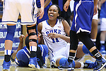 30 October 2014: Duke's Azura Stevens (11). The Duke University Blue Devils hosted the Limestone College Saints at Cameron Indoor Stadium in Durham, North Carolina in an NCAA Women's Basketball exhibition game. Duke won the game 100-33.
