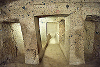 Interior of the Etruscan Tumulus tomb of Mengaerlli, 6th century BC, Necropoli della Banditaccia, Cerveteri, Italy. A UNESCO World Heritage Site