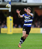 Adam Hastings of Bath Rugby receives the ball. Aviva Premiership match, between Bath Rugby and Saracens on December 3, 2016 at the Recreation Ground in Bath, England. Photo by: Patrick Khachfe / Onside Images