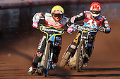 Heat 3: Troy Batchelor (yellow) and Peter Karlsson (red) - Lakeside Hammers vs Swindon Robins at the Arena Essex Raceway, Pufleet - 18/06/12 - MANDATORY CREDIT: Rob Newell/TGSPHOTO - Self billing applies where appropriate - 0845 094 6026 - contact@tgsphoto.co.uk - NO UNPAID USE..