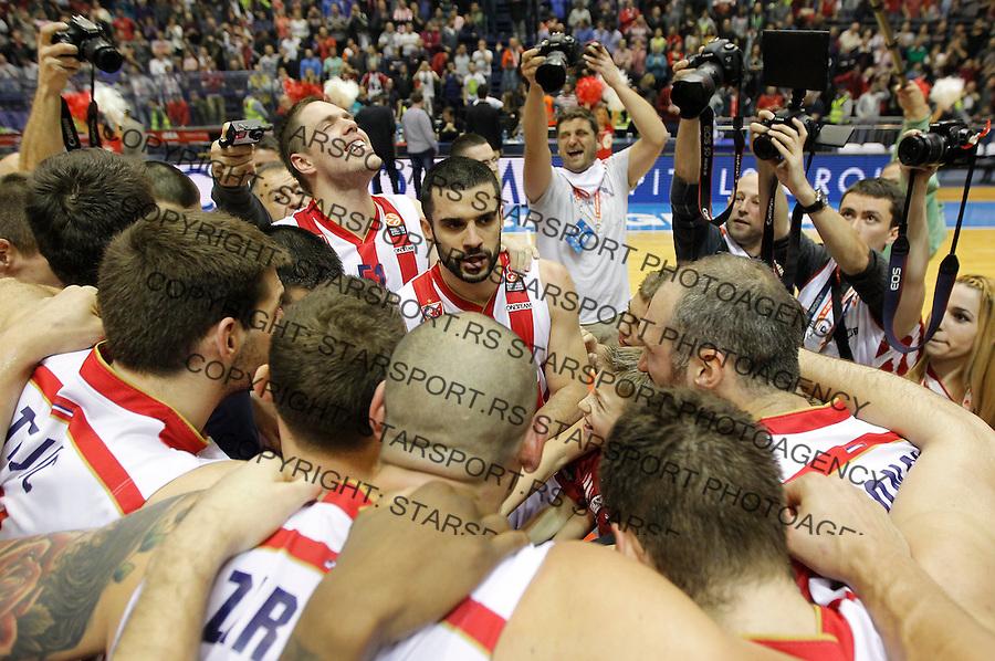 Kosarka Euroleague season 2015-2016<br /> Euroleague <br /> Crvena Zvezda v Real Madrid<br /> Branko Lazic Vladimir Stimac celebrate<br /> Beograd, 27.11.2015.<br /> foto: Srdjan Stevanovic/Starsportphoto &copy;