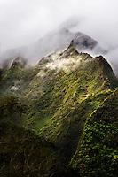Ko'olau Mountains on O'ahu on a foggy morning