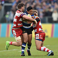 Ben Tapuai of Bath Rugby is double-tackled. Aviva Premiership match, between Bath Rugby and Gloucester Rugby on April 30, 2017 at the Recreation Ground in Bath, England. Photo by: Patrick Khachfe / Onside Images